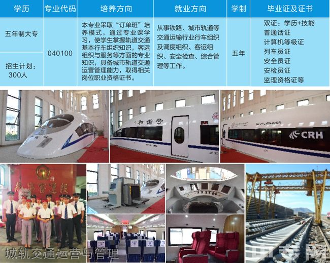 云南城市建设职业学院城轨交通运营与管理