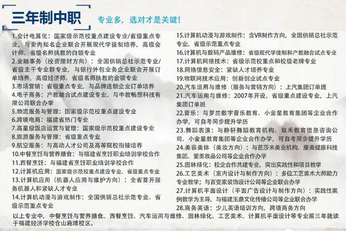 福建经济学校三年制中专专业